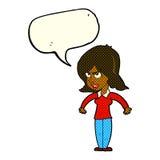mittlere Frau der Karikatur mit Spracheblase Stockbild