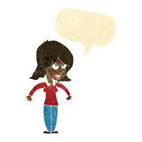 mittlere Frau der Karikatur mit Spracheblase Stockfoto