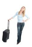 Mittlere gealterte Frau mit Laufkatzebeutel Lizenzfreie Stockfotografie