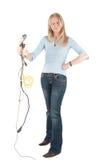 Mittlere gealterte Frau mit Seilzügen und Bolzen Lizenzfreies Stockbild