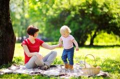 Mittlere Greisin und ihr Enkel, die ein Picknick hat Lizenzfreie Stockbilder