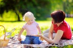 Mittlere Greisin und ihr kleiner Enkel, die ein Picknick in der Gleichheit hat Stockbilder