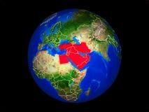 Mittlere Osten auf Erde vom Raum stock abbildung