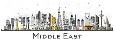 Mittlere Osten-Stadt-Skyline mit den Farbgebäuden lokalisiert auf Weiß lizenzfreie abbildung