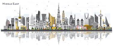Mittlere Osten-Stadt-Skyline mit Farbgebäuden und -reflexionen sind- vektor abbildung