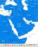 Mittlere Osten und Asien - Karte und Navigationsikonen - Illustration Lizenzfreie Stockfotos