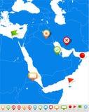 Mittlere Osten- und Asien-Karte und Navigationsikonen - Illustration Stockfotos