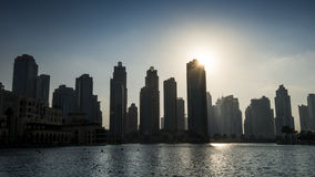 Mittlere Osten, Vereinigte Arabische Emirate, Dubai, im Stadtzentrum gelegen, Burj Khalifa Fountain Lake Lizenzfreie Stockbilder