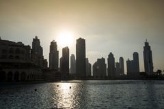 Mittlere Osten, Vereinigte Arabische Emirate, Dubai, im Stadtzentrum gelegen, Burj Khalifa Fountain Lake Lizenzfreie Stockfotografie