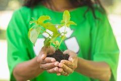 Mittlerer Abschnitt der Frau im grünen Wiederverwertungst-shirt, das Jungpflanze hält Stockfoto