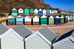 Mittlerer Chine Beach Huts Dorset Lizenzfreies Stockfoto