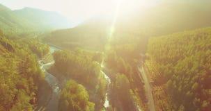Mittlerer Flug über frischem Gebirgsfluss und Wiese am sonnigen Sommermorgen Ländlicher Schotterweg unten stock video