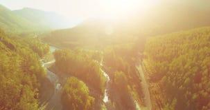 Mittlerer Flug über frischem Gebirgsfluss und Wiese am sonnigen Sommermorgen Ländlicher Schotterweg unten stock footage
