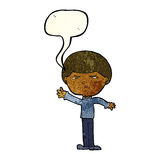 mittlerer Mann der Karikatur mit Spracheblase Stockbild