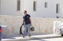 Mittlerer Ost-Mitzpe Ramon, Israel 29. Februar die Installation neuen Solar- Warmwasserbereiter-Firma-` Hom-Hanegev` Stockbild