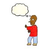 mittlerer schauender Mann der Karikatur mit Gedankenblase Lizenzfreies Stockfoto