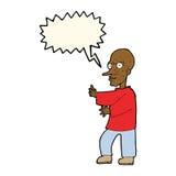 mittlerer schauender Mann der Karikatur mit Spracheblase Stockfoto