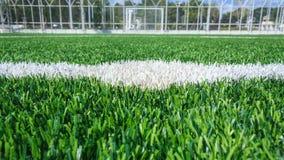 Mittlinje av ett fotbollgräsfält Fotografering för Bildbyråer