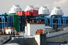 mittpompidou rooftop Royaltyfri Foto