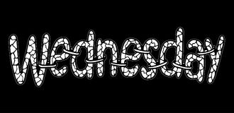 mittwoch Abstrakte Beschriftung für Karte, Einladung, T-Shirt, Plakat, Fahne, Plakat, Tagebuch, Album, SkizzenBucheinband Hand ge Stockbild
