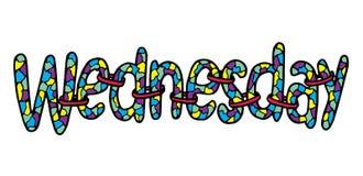 mittwoch Abstrakte Beschriftung für Karte, Einladung, T-Shirt, Plakat, Fahne, Plakat, Tagebuch, Album, SkizzenBucheinband Hand ge Lizenzfreie Stockfotografie