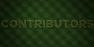 MITWIRKENDE - neue Grasbuchstaben mit Blumen und Löwenzahn - 3D übertrugen freies Archivbild der Abgabe stock abbildung