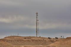 Mitzpe Ramon, 02 2016 Grudzień: Komórkowa antena przy Negew de Fotografia Royalty Free