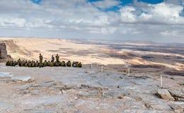 MITZPE RAMON, ISRAEL - DECEMBER 15, 2008: närhet av Mitzpe Ramon Fotografering för Bildbyråer