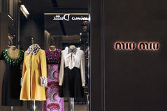 MIU MIU store in Florence, one of the most luxurious shopping district stock images