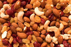 Mix. Of nuts and dried fruit stock photography