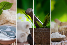 Mix. Close up view of spa theme objects on natural background Stock Photo