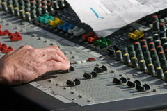 Mix it. Sound or music mixer in action Stock Image