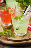 Mix of alcohol cocktails with rum and mint Stock Photo