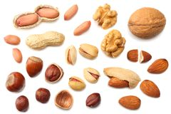 Mix almonds, cashew nuts, hazelnut, peanuts, walnuts, pistachio isolated on white background. Top view stock image