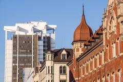 Mix of architectural styles. In Katowice downtown, Silesia region, Poland stock photos
