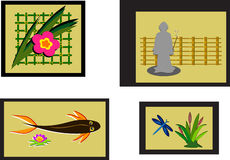 Mix of Asian Style Framed Pictures Stock Photography