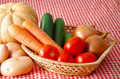 Mix of autunm vegetables on farmer market Royalty Free Stock Image