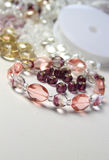 Mix of beads. Big mix of beads and crystals for handmade bracelet knitting stock images