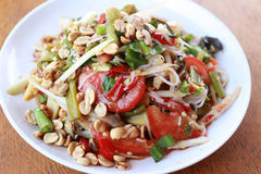 Mix bean of Papaya salad or SOMTUM in Thai Foods. Stock Image