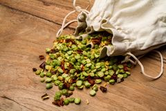 Mix of bean seeds with spices for cooking soup royalty free stock photography