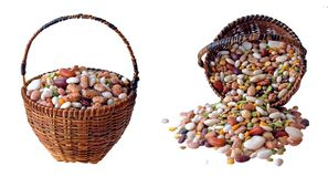 Mix of beans in basket Royalty Free Stock Photo