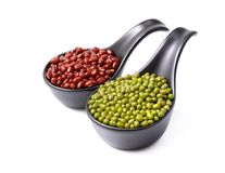 Mix beans in ceramic bowl on white background Stock Image