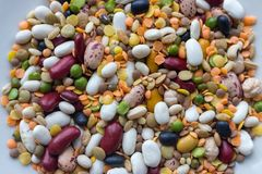 Mix of beans, peas, mung, lentil and kidney beans closeup. Organic healthy food. Mixed beans. Royalty Free Stock Photography