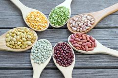 Mix beans in wooden Stock Photography