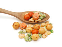 Mix beans and wooden spoon Stock Image