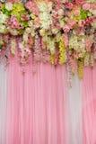 Mix beautiful flowers background for wedding ceremony. Scene decoration Stock Photo