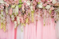 Mix beautiful flowers background for wedding ceremony. Scene decoration Royalty Free Stock Image