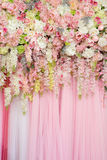 Mix beautiful flowers background for wedding ceremony. Scene decoration Royalty Free Stock Photos