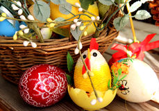 Mix of beautiful handmade Easter colored eggs Royalty Free Stock Photos