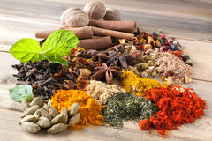 Mix of beautiful spices Stock Photo